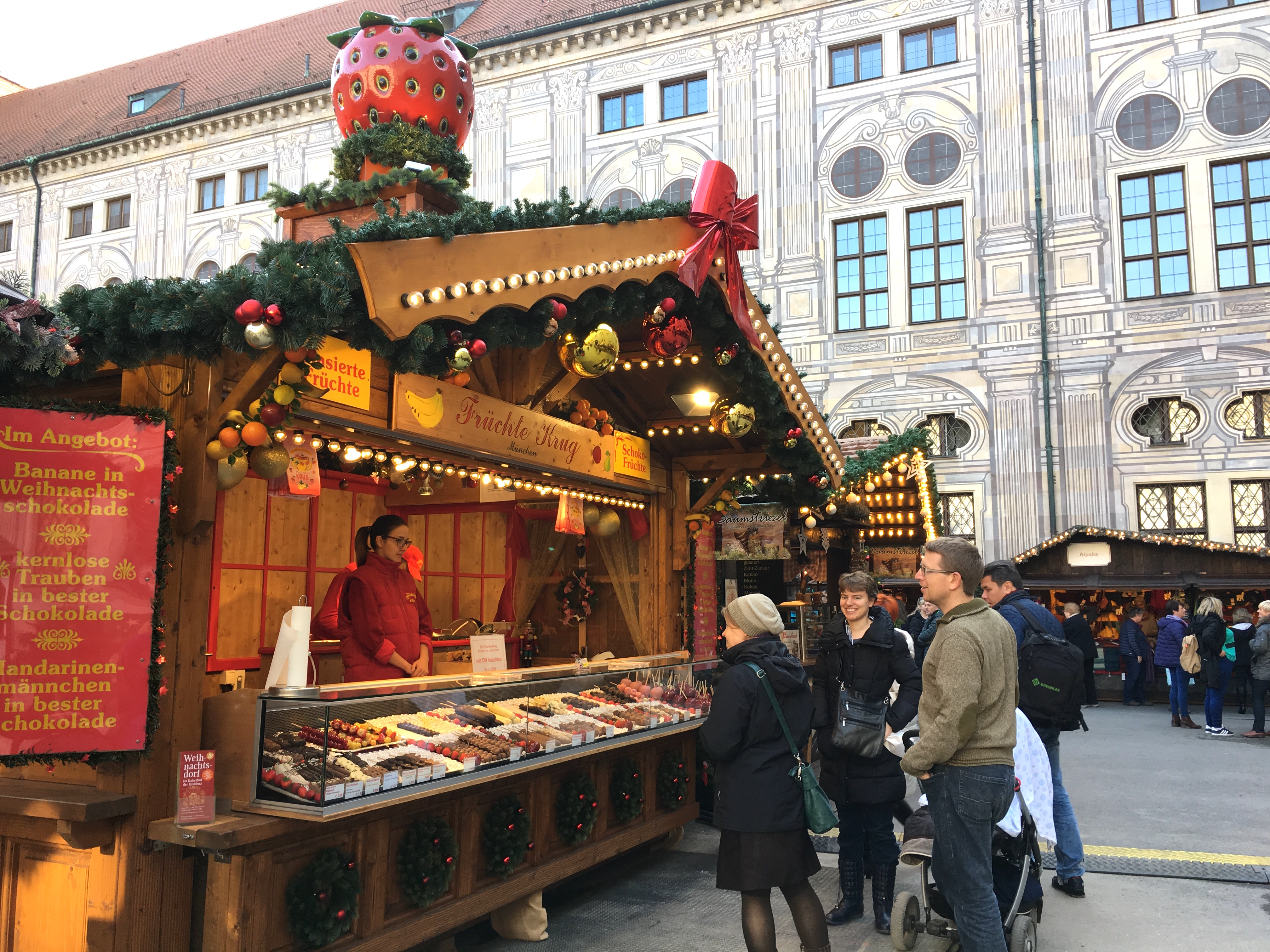 munichs first christmas market the weihnachtsdorf opened the next day in the courtyard of the royal residenz and beth stopped by on her way to class